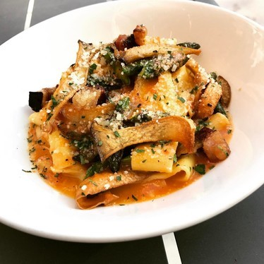 Pappardelle with soffritto, trumpet royale mushroom and Mangalista pork belly at Monteverde