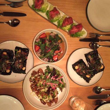 Wagyu beef, poke salad and Hawaiian hors d'oeuvres at Liholiho Yacht Club