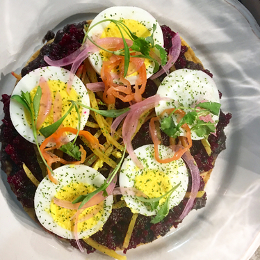 Beet and egg tostada at Broken Spanish