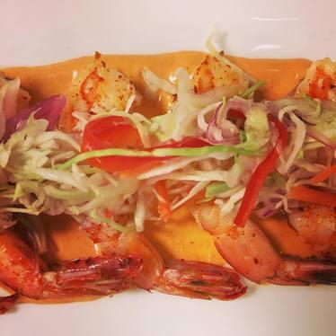 Camarones a la plancha with romesco sauce at Crossroads Chapel Hill