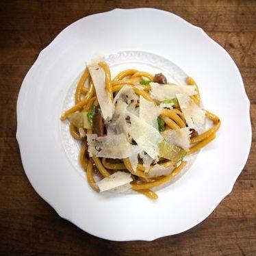 Bucatini grandi with scarola and fagioli at The Tasting Kitchen