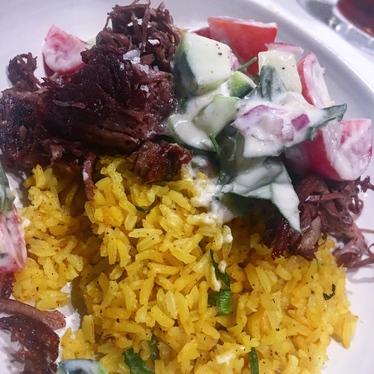 Crispy Goat w/ Beluga Lentils, Cucumber & Tomato at Herbsaint