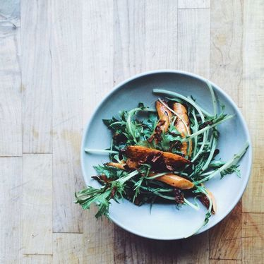 Carrot, mizuna, and shallot at Ned Ludd