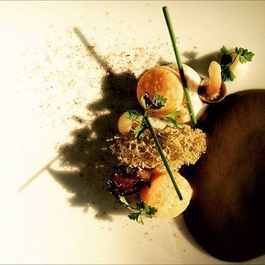 Mushroom purée, morels, truffles, and chanterelles at Langdon Hall