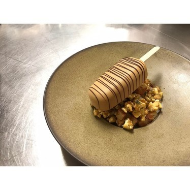 Valrhona dulcey mousse, furikake caramel corn and butter mochi at The Mill House