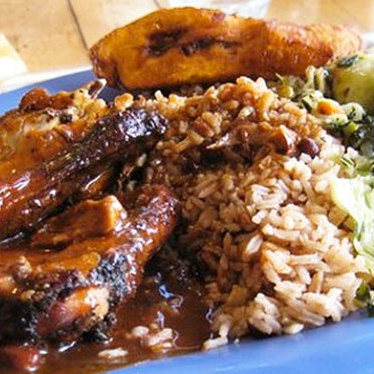 Jerk chicken at Island Spice Jamaican Restaurant