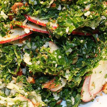 Shaved honey crisp apple & kale salad at OAK at fourteenth