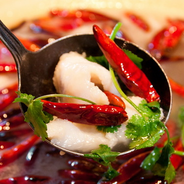 Spicy hot oil boiled fish fillet at Ancient Szechuan
