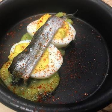 Boquerone, deviled eggs, leek at The Rookery Cafe