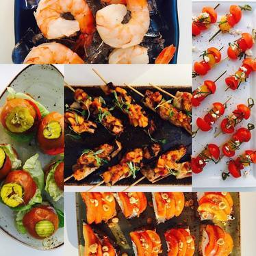 Skewered appetizers with vegetables and prawns at Honey Salt