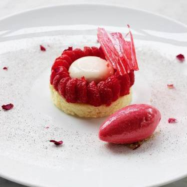 Raspberry-rose tart & sorbet, lemon sable breton, paradise ganache at Deuxave