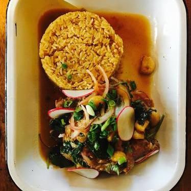 Pork adobo with garlic rice at Gilbert's Social