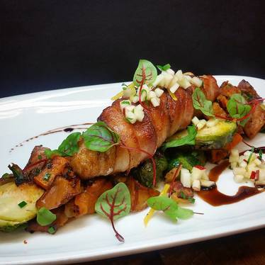 Monkfish with bacon, vegetable hash, apple gremolata, and balsamic at Farm Shed Dinners