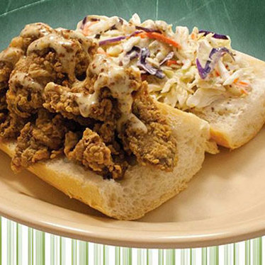 Fried chicken livers and slaw po-boy at Mahony's Po-Boy Shop