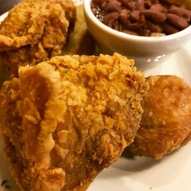 Fried chicken and red beans at Dunbar's Famous Creole Cuisine