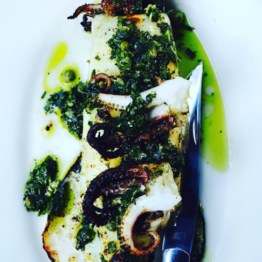 Local marinated squid and salsa verde at Gjelina