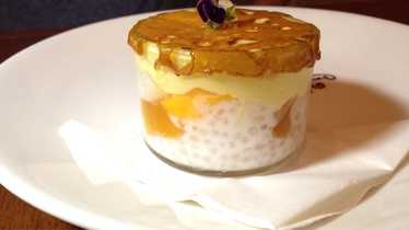 "Tropical fruit creamsicle ""brulée"" at MW Restaurant"