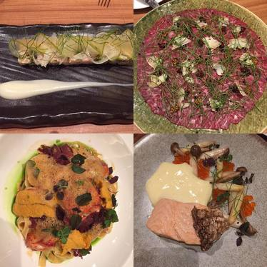 Crudo, charcuterie, fish filet with plated vegetables and uni pasta at Coffeemania