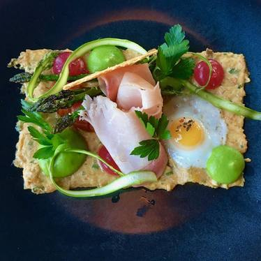 Pasta with Asparagus, Ham and Egg at North Pond