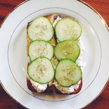 Smoked salmon spread with capers, dill, red onion, and cucumbers on rye toast at High Street on Market