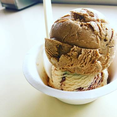 Coffee and peanut butter fudge ice cream at Humphry Slocombe