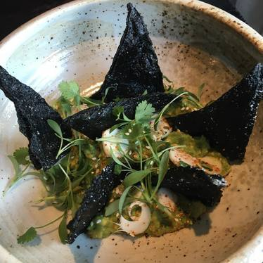 "Seaweed ""Doritos"" with yuzu and togarashi guac, finger lime and hearts of palm at Erven"