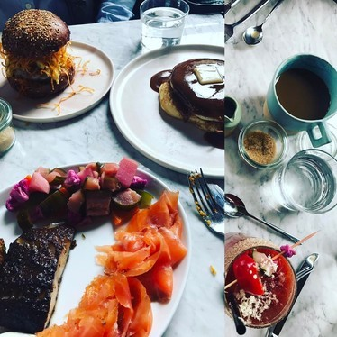 Smoked salmon, roasted vegetables, sliders, pancakes and a bloody Mary at Sunday In Brooklyn
