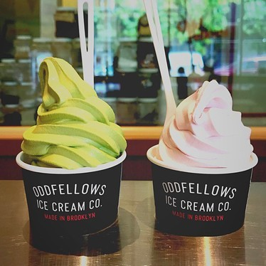 Matcha and cherry soft serve at OddFellows Ice Cream Co.
