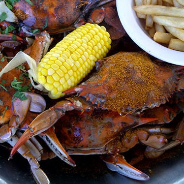 Traditional Old Bay crabs at Clemente's Maryland Crab House