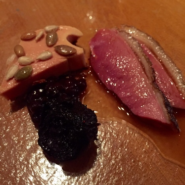 Duck breast, foie, roasted beet at Atelier Crenn