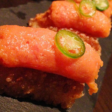 Spicy tuna crispy rice at Makoto