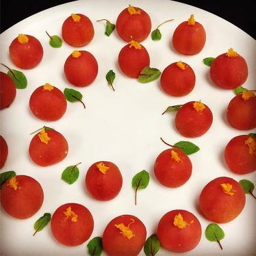 Flavored heirloom tomatoes at Drago Centro