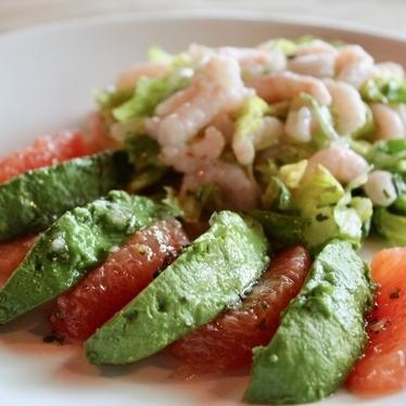 Avocado, ruby grapefruit and baby shrimp salad at Summer Shack