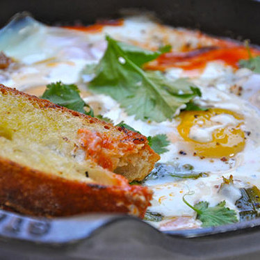 Moroccan baked eggs at Gjelina
