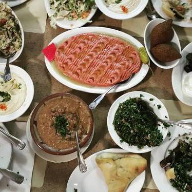 Lebanese food spread at Nate's Deli