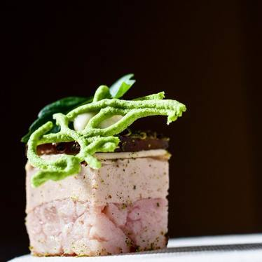 Terrain Terrine with sweetbreads, hen farce, foie mousse, english pea merengue, quinoa at Alter