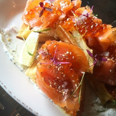 Smoked salmon with waffle and caviar  at City Perch Kitchen + Bar
