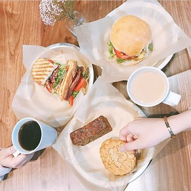 Egg sandwich, banana bread, cookies and coffee at Flour Bakery & Cafe