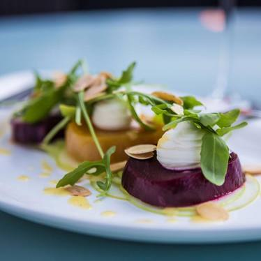 Roasted Beet Salad with whipped goat cheese and wild arugula at Hubbell & Hudson Bistro
