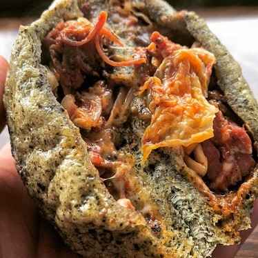 Nori milkbread stuffed with pastrami, kimchi and cheese at Mandu