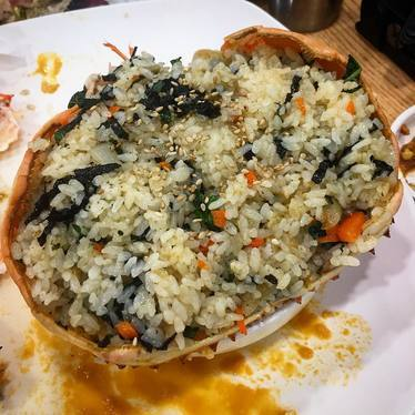 Fried rice with king crab roe. at Hanjan