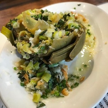 Roast artichoke, green garlic, butter, lemon, mint at The Meatball Shop