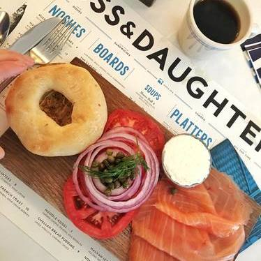 Bagel plate with smoked salmon, tomatoes, onions, capers, and cream cheese at Russ & Daughters Café