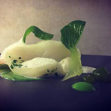 Confit jasmine turbot, green almond pulp, spicy verbena oil at Club Gascon
