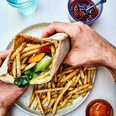 Pita sandwich with fries at Tusk
