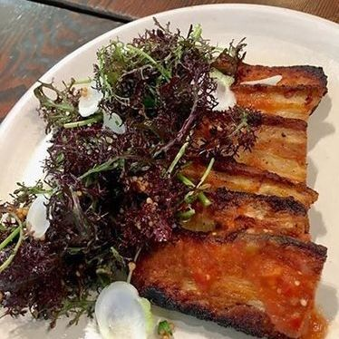 Pork belly with mustard frill at Arguello