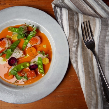 Mackerel Crudo, Carrot Brodo, Sugar Snaps & Lime at Il Buco Alimentari e Vineria