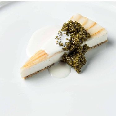Smoked sturgeon cheesecake with caviar at Made Nice