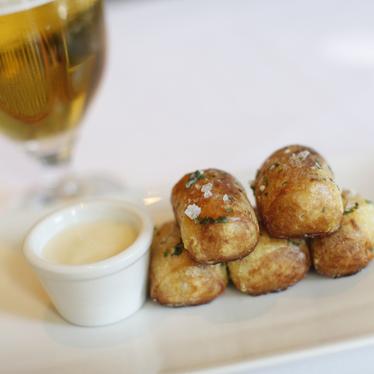 Soft garlic pretzels at Absinthe Brasserie & Bar