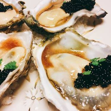 Oysters, tobiko, black shoyu emulsion at Chef Shack Ranch